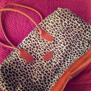 Tangaroa leopard print leather weekender
